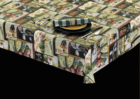 Heavyweight Masters of Golf Print Vinyl Tablecloth w/ Flannel Backing, S6104