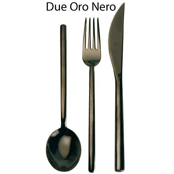 Due Oro Nero 40-Piece Black Gold Finish Place Setting for 8, Mepra