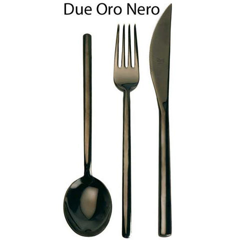 Mepra Due Oro Nero, Black Gold Finish, 5-Piece Place Setting