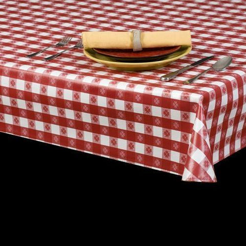 Durable Vinyl Tablecloth w/ Flannel Backing, Tavern Check Design, 5 Colors, S9802