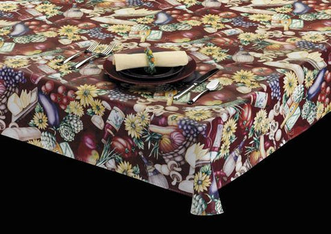 Heavy Duty Fruits & Vegetables Print Vinyl Tablecloth w/ Flannel Backing, S6101