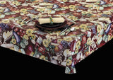 Heavy Duty Fruits & Vegetables Vinyl Tablecloth Rolls w/ Flannel Backing, S6101