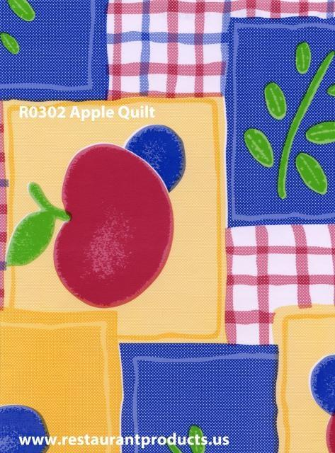 Apple Quilt Print Heavy Duty Vinyl Tablecloth Roll, R0305