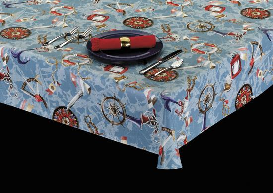 Premium Vinyl Tablecloth w/ Flannel Backing, Nautical Print, 5 Colors, S6105