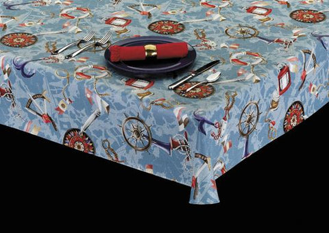 Heavy Duty Nautical Print Vinyl Tablecloth w/ Flannel Backing, S6105