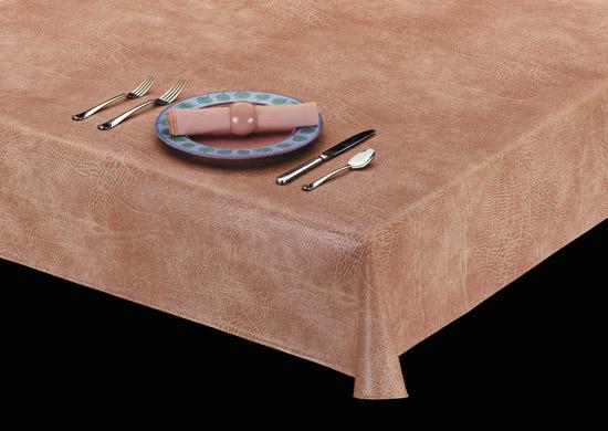 Heavyweight Luxurious Leather Look Vinyl Tablecloth w/ Flannel Backing, S6108