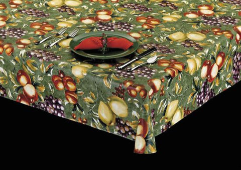 Heavyweight Fruit Bowl Print Vinyl Tablecloth w/ Flannel Back, S6109