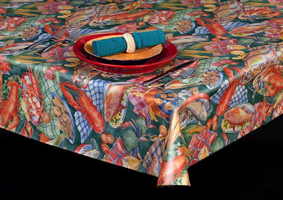 Premium Vinyl Tablecloth w/ Flannel Backing, Seafood Print, 3 Colors, S6107