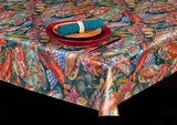 Heavyweight Seafood Print Vinyl Tablecloth w/ Flannel Backing, S6107