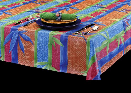 Heavy Duty Caribbean Charisma Print Laminated Vinyl Tablecloth, S2063