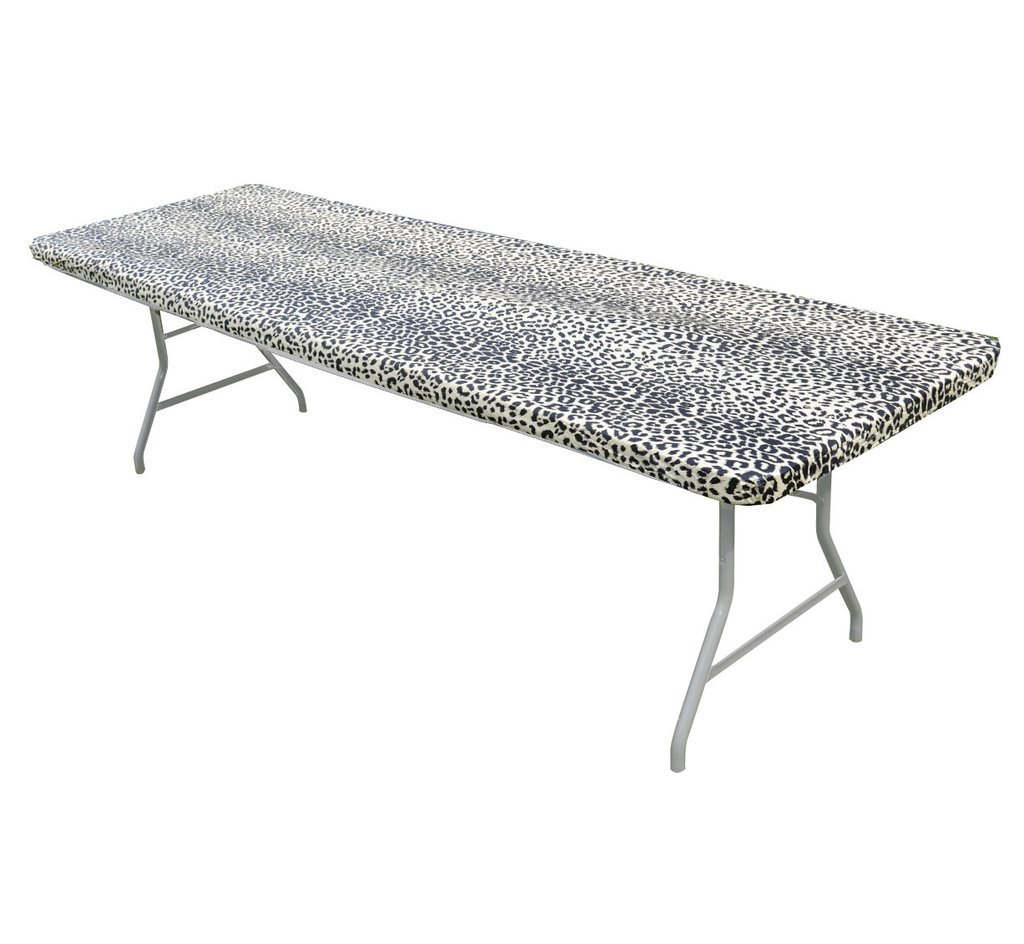 Leopard Print Kwik Covers Plastic Fitted Rectangular Table Covers