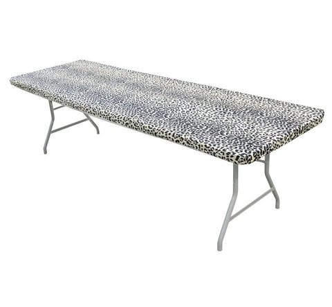 6' & 8' Leopard Print Kwik-Covers Plastic Fitted Tablecloths
