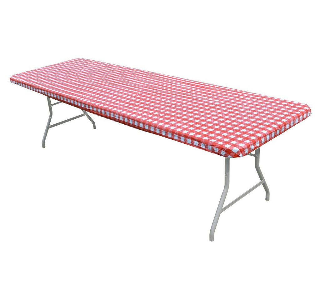 Gingham Check Plastic Fitted Banquet Table Covers