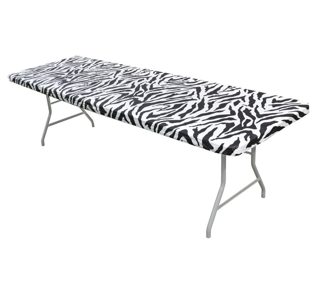 6' & 8' Zebra Print Kwik-Covers Plastic Fitted Tablecloths