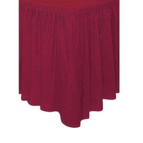 Solid Color Pleated Plastic Table Skirt Pack of 6
