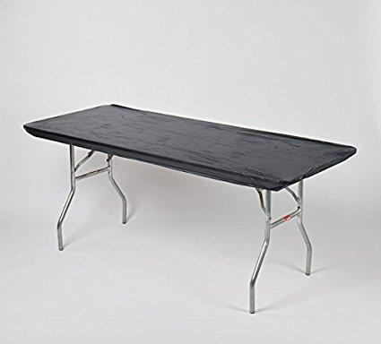 6' & 8' Solid Black Kwik-Covers Plastic Fitted Tablecloths