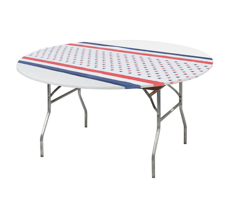"Kwik-Covers 48"" & 60"" Round Fitted Printed Plastic Table Covers - Patriotic Print / Flag / 4th July"