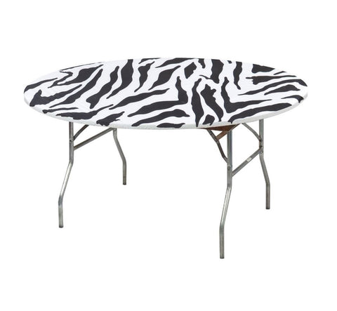 "60"" Zebra Print Kwik-Covers Plastic Fitted Tablecloths"