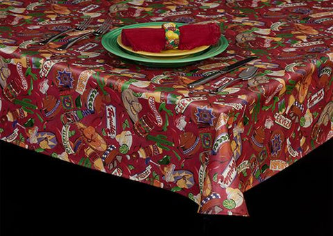 Premium Vinyl Tablecloth w/ Flannel Backing, Spirit of Mexico Print, S6102