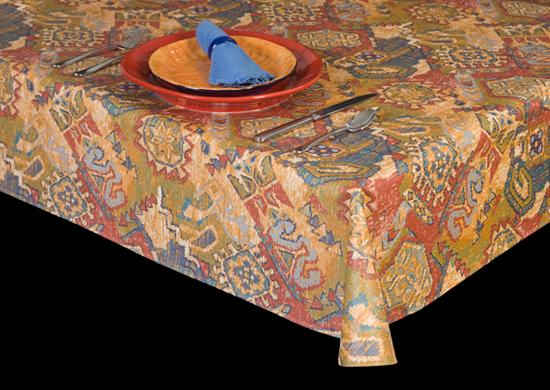 Heavy Duty Southwestern Theme Vinyl Tablecloth w/ Flannel Backing, S6112
