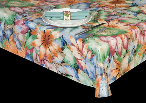 Premium Vinyl Tablecloth w/ Flannel Backing, Floral Bouquet Print, 5 Colors, S6113