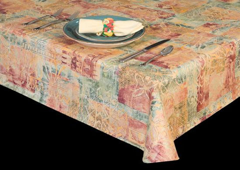 Premium Vinyl Tablecloth w/ Flannel Backing, Retro Print, 5 Colors, S6117