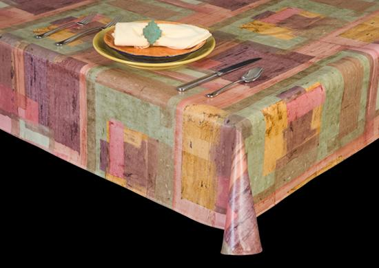 Premium Vinyl Tablecloth w/ Flannel Backing, Postmodern Geometric Series, 6 Colors, S6118