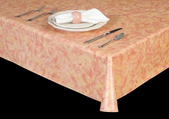 Premium Vinyl Tablecloth w/ Flannel Backing, Rag Painting Faux Finish, 21 Colors, S6119