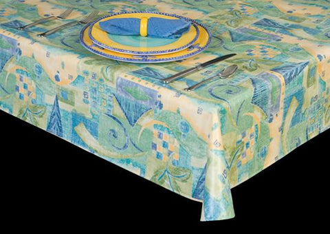 Heavyweight Abstract Print Vinyl Tablecloth w/ Flannel Backing, S6120