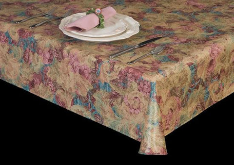 Premium Vinyl Tablecloth w/ Flannel Backing, Floral Print, 6 Colors, S6121