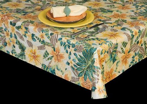 Heavyweight Floral Print Vinyl Tablecloth w/ Flannel Backing, S6122