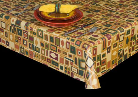 Premium Vinyl Tablecloth w/ Flannel Backing, 1970's Retro Series, 7 Colors, S6125