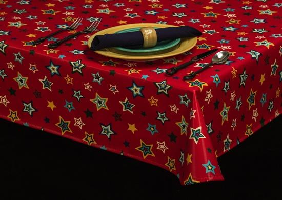 Heavyweight Celebration Print Vinyl Tablecloth w/ Flannel Backing, S6127