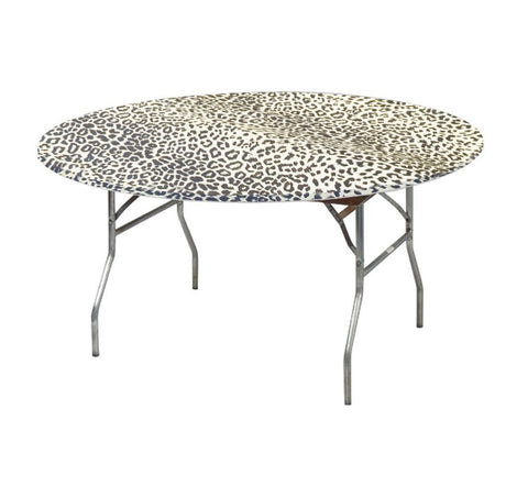 "60"" Leopard Print Kwik-Covers Plastic Fitted Tablecloths"