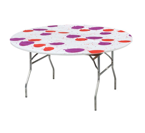 "Kwik-Covers 48"" & 60"" Round FittedCelebration Printed Plastic Table Covers - Birthday Party/ Baloon Print"