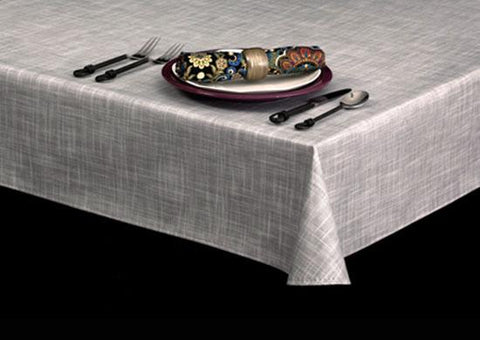 Economy Vinyl Tablecloth w/ Flannel Backing, Open Weave Finish Series, 3 Colors, S7102