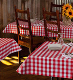 crimson check restaurant vinyl tablecloth w/ flannel back