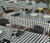 jet black check restaurant vinyl tablecloth w/ flannel back