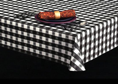 Economy Vinyl Tablecloth w/ Flannel Backing, Flower Check Series, 6 Colors, S7104
