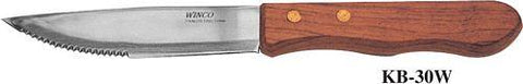 "Winco KB-30W 5"" Jumbo Stainless Steel Steak Knife with Wood Handle and Pointed Tip"