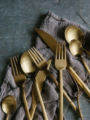 Mepra Due Ice Oro Brushed Gold Finish 40-Piece Flatware Set for 8