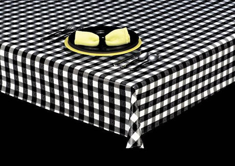 "Heavy Duty Purely Plaid 1"" Squares Vinyl Tablecloth Roll w/ Flannel Backing, S9811"