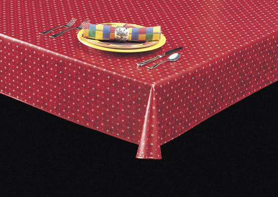 Heavyweight Starbursts & Dots Print Vinyl Tablecloth w/ Flannel Backing, S9814