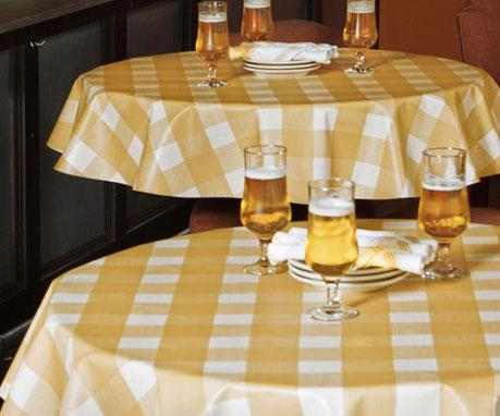Heavyweight Large Plaid Linen Vinyl Tablecloth W Flannel Backing Maine Supply Company