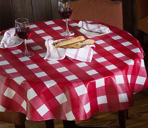 Heavyweight Large Plaid Linen Vinyl Tablecloth w/ Flannel Backing, S9815
