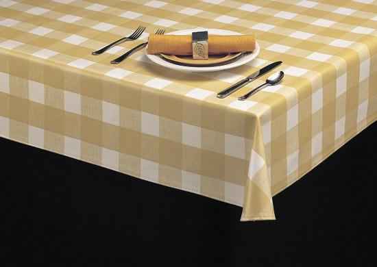 Heavy Duty Large Plaid Linen Vinyl Tablecloth Roll w/ Flannel Backing, S9815