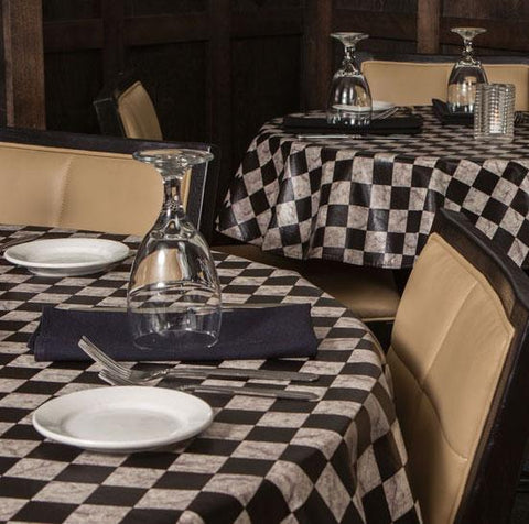Heavy Duty Marble Checkerboard Vinyl Tablecloth w/ Flannel Backing, S9816