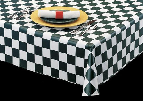 "Durable Vinyl Tablecloth w/ Flannel Backing, Charming Checkers 2"" Squares Series, 6 Colors, S9823"