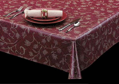 Durable Vinyl Tablecloth w/ Flannel Backing, Climbing Vines Series, 3 Colors, S9824