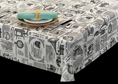Heavyweight Newspaper Print Vinyl Tablecloth Roll w/ Flannel Back, S9825